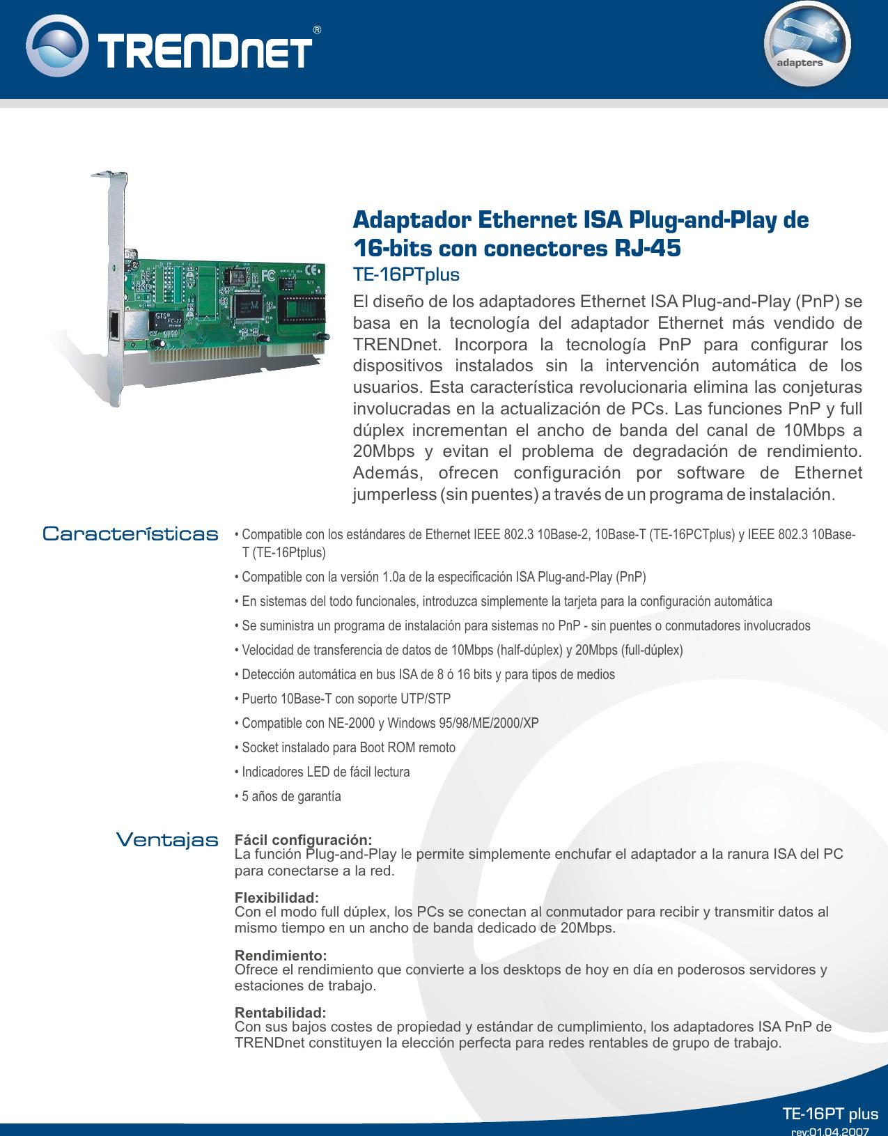 TRENDNET TE-16PCTPLUS NETWORK ADAPTER DRIVERS WINDOWS 7 (2019)