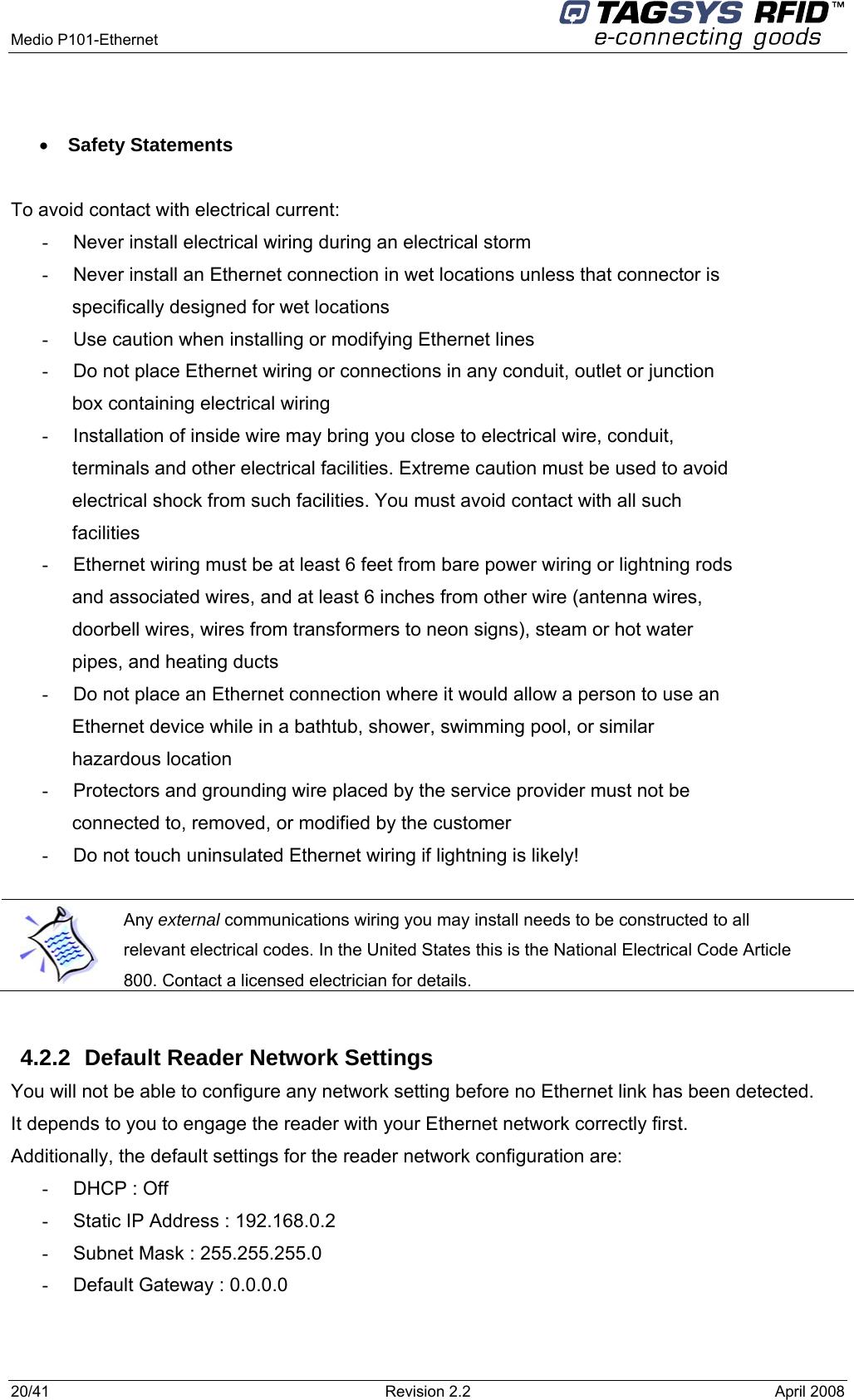 Tagsys Mediop101ether Rfid Tag Reader User Manual Manual