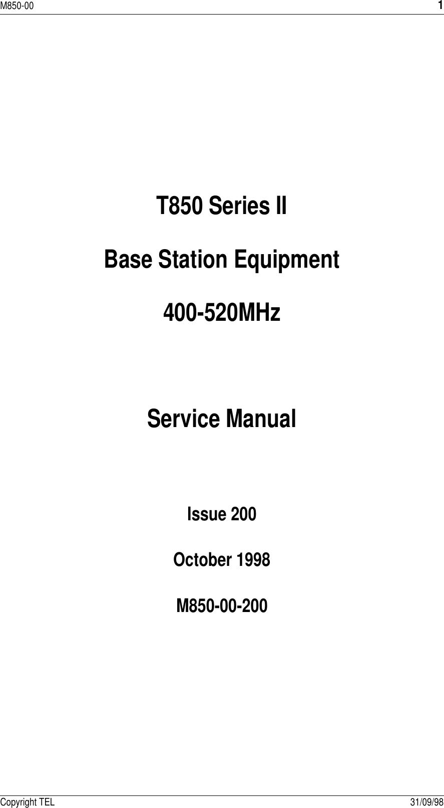 Tait Tel0025 Base Station Transmitter User Manual 8c500 A4 Bk Audio Amplifier Circuit Using Tda7231