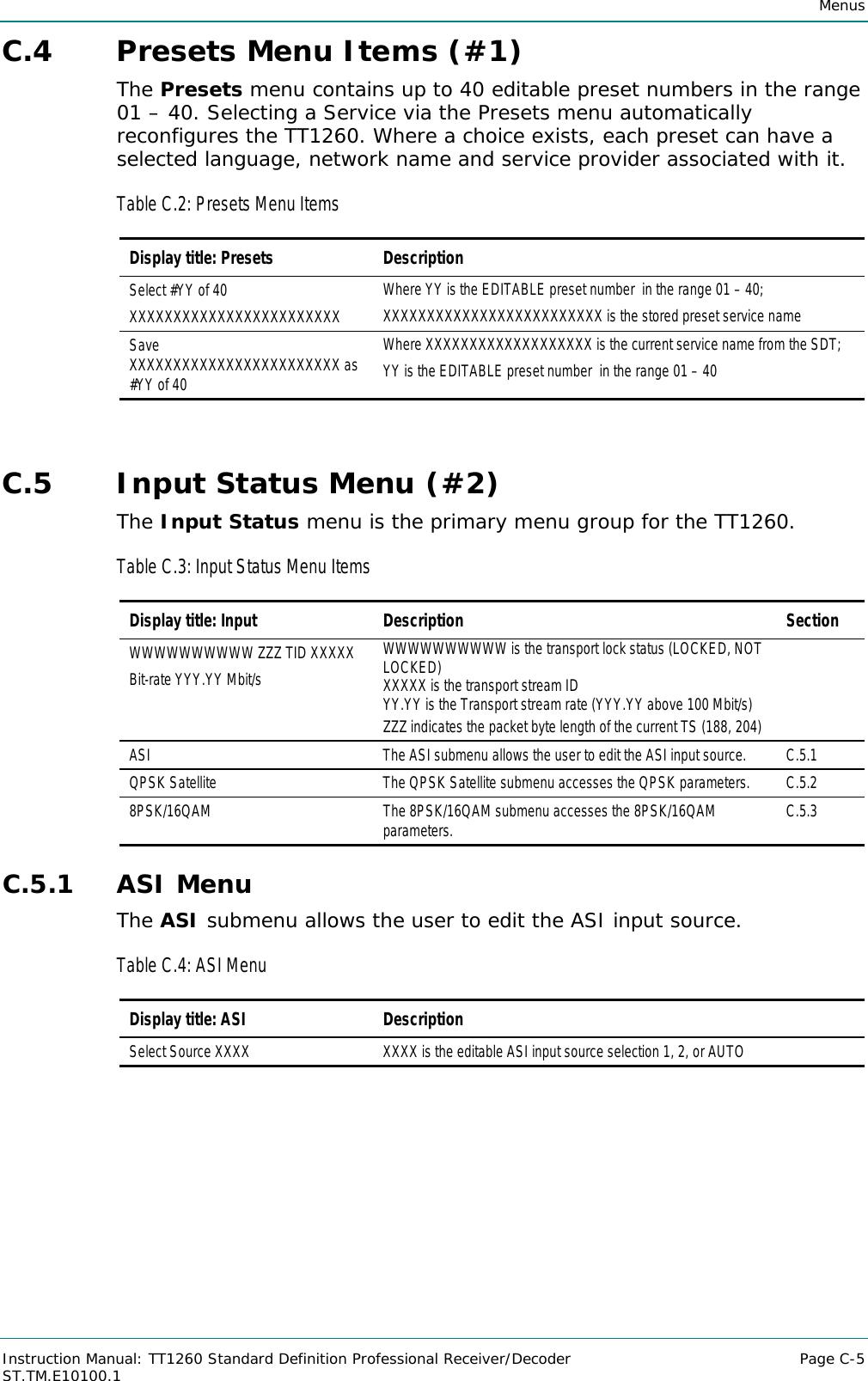 Tandberg Tt1260 Users Manual Instruction