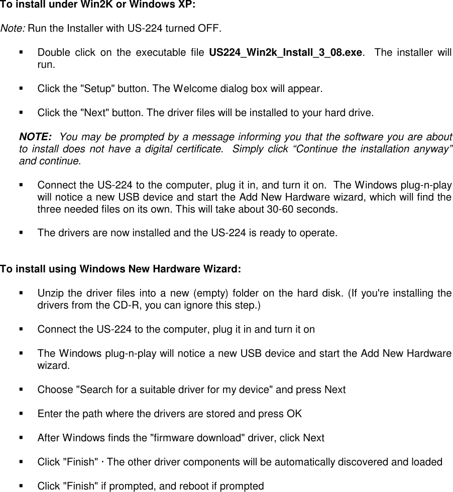 Tascam INSTALLATION NOTES FOR US 428 WINDOWS DRIVERS Install