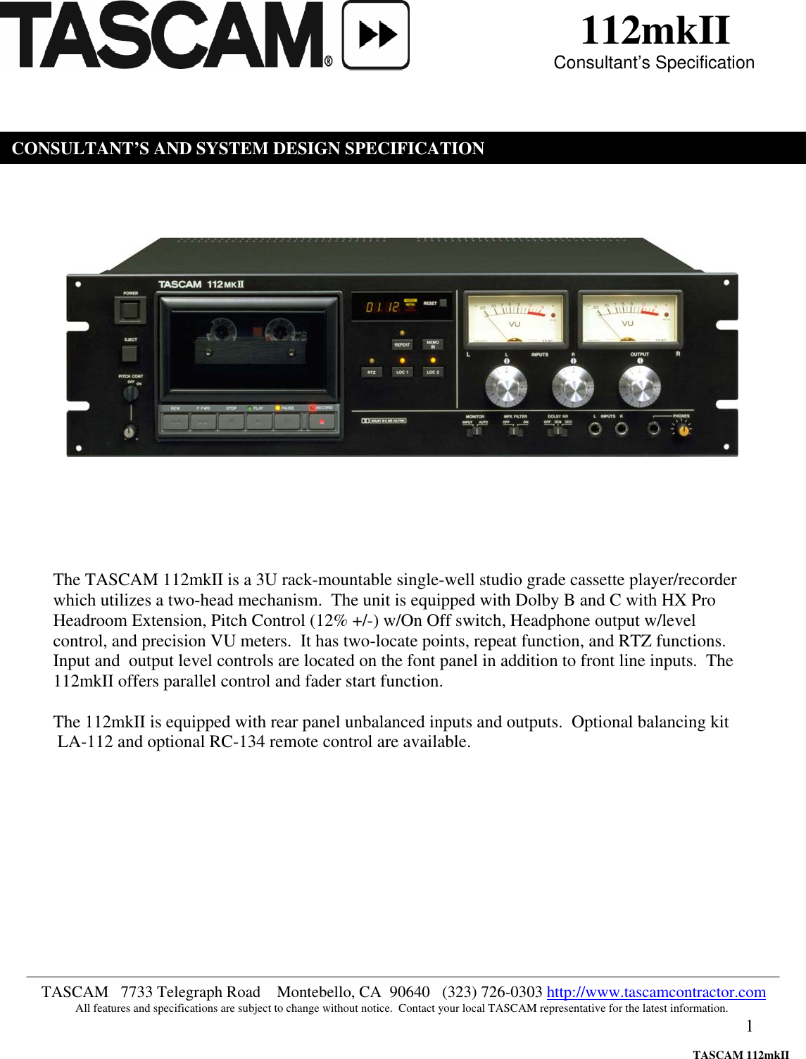 tascam 112mkii users manual specification rh usermanual wiki tascam m-216 user manual tascam dr 40 user manual