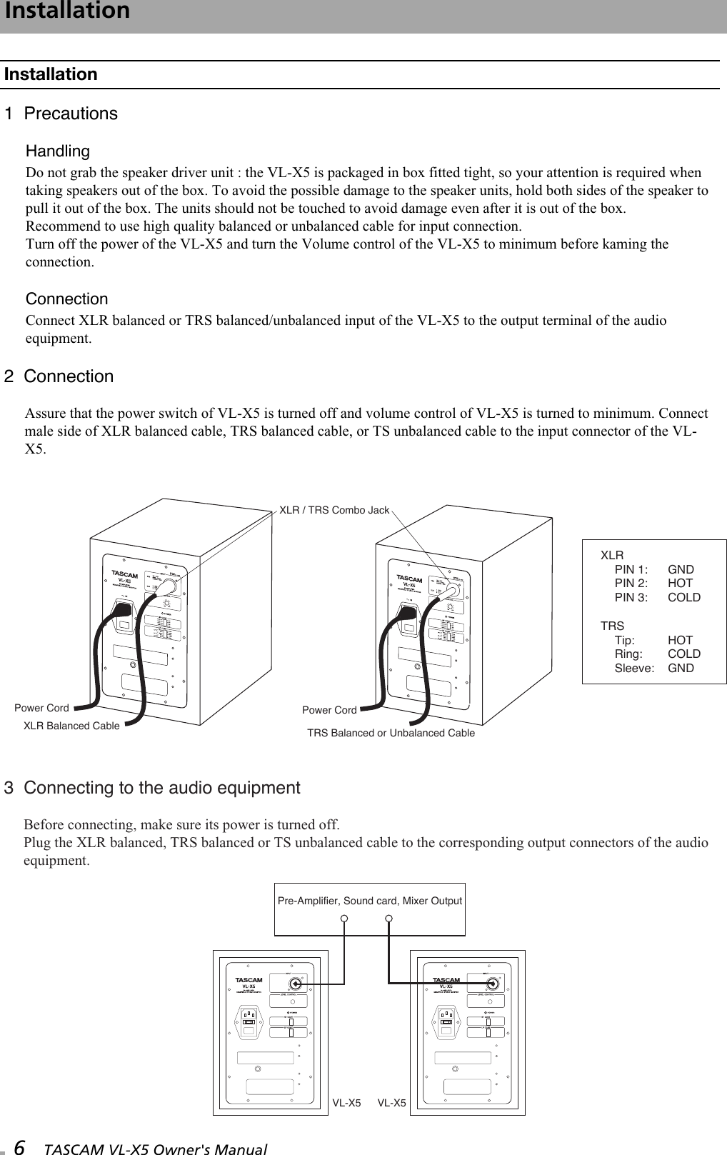 Tascam Vl X5 Users Manual Combo Xlr Wiring Diagram Page 6 Of 12