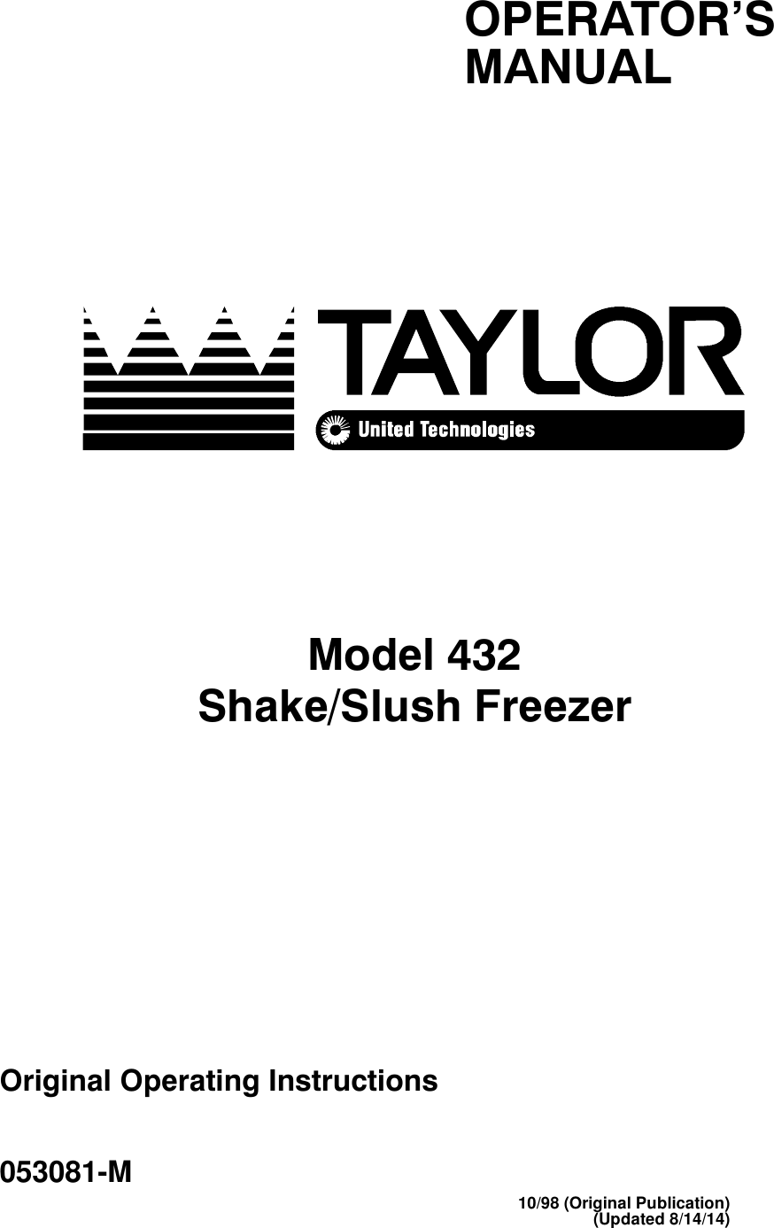 Taylor Blender Shake Slush Freezer Users Manual Fig1 Wiring Diagram For A Typical Fridge Compressor Note The Over