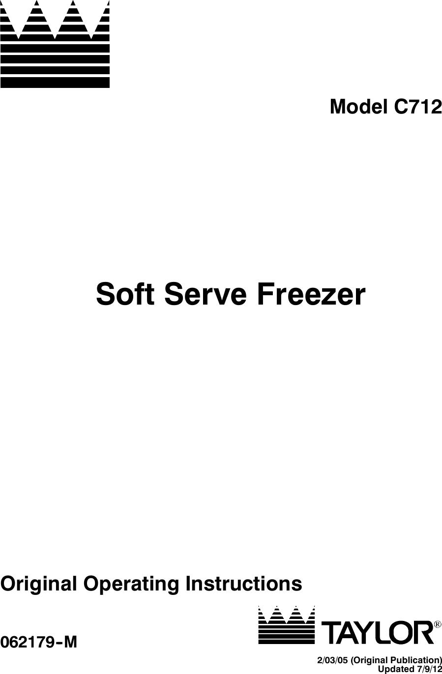 Taylor Freezer C712 Users Manual Opcvr Door Open Alarm Circuit Uf Capacitor Refrigerator