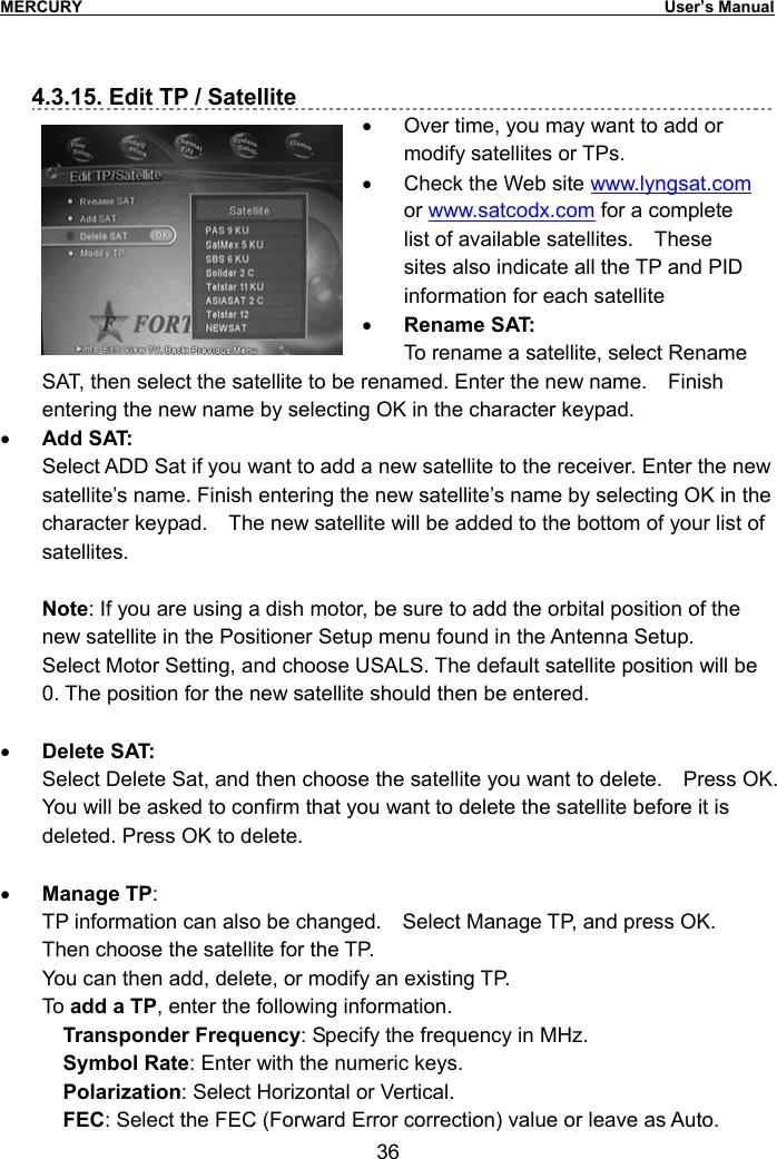 Tcom Technology SN-260CA Digital Satellite Receiver User Manual