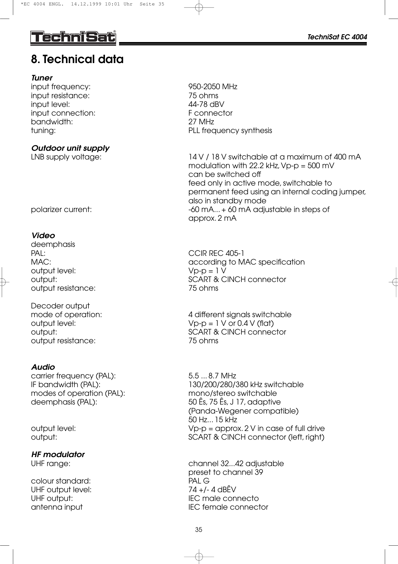 Technisat Ec 4004 Users Manual *EC ENGL