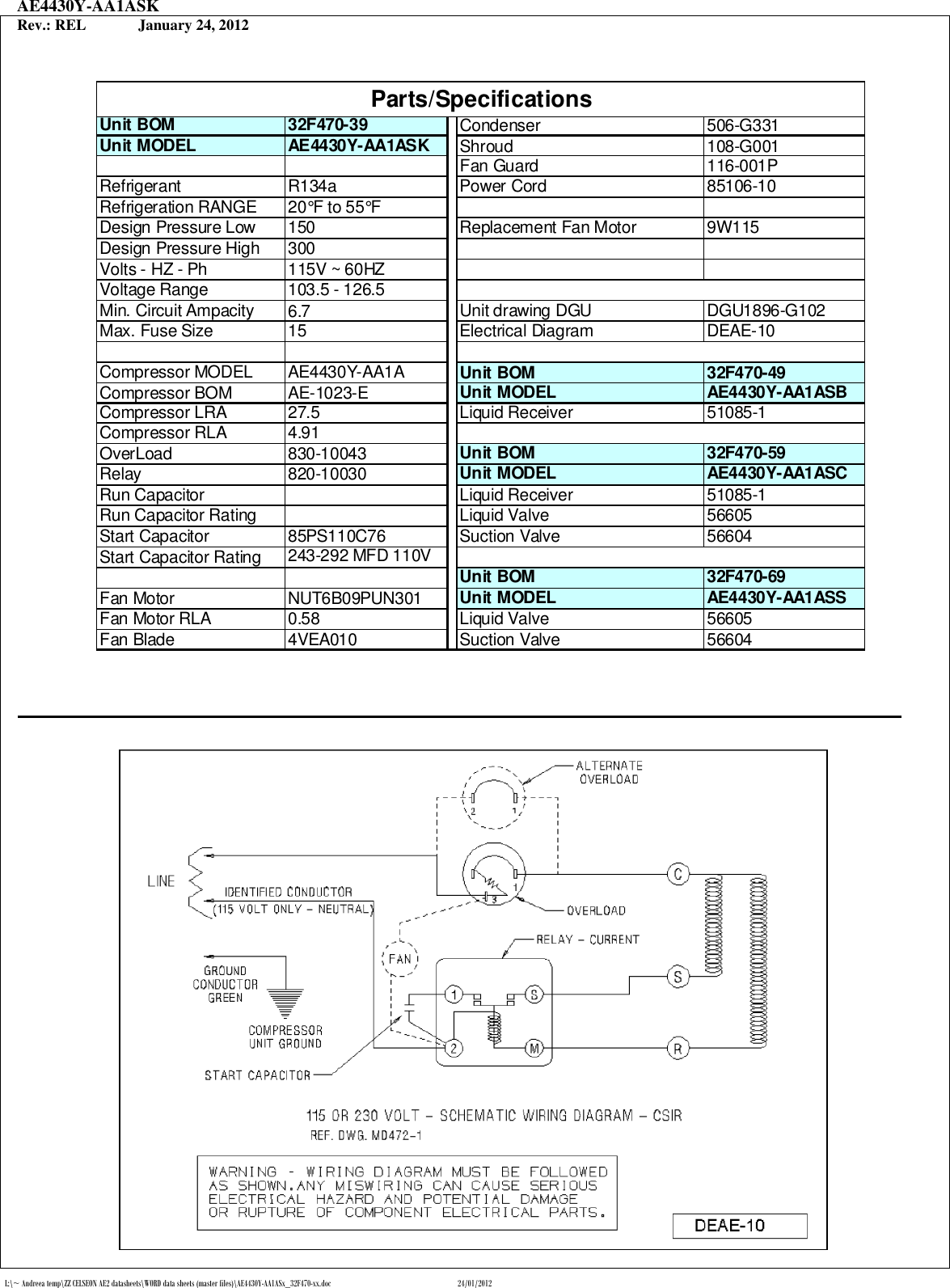 Tecumseh Ae4430y Aa1asb Performance Data Sheet Aa1asx 32f470 Xx Wiring Diagram Page 2 Of