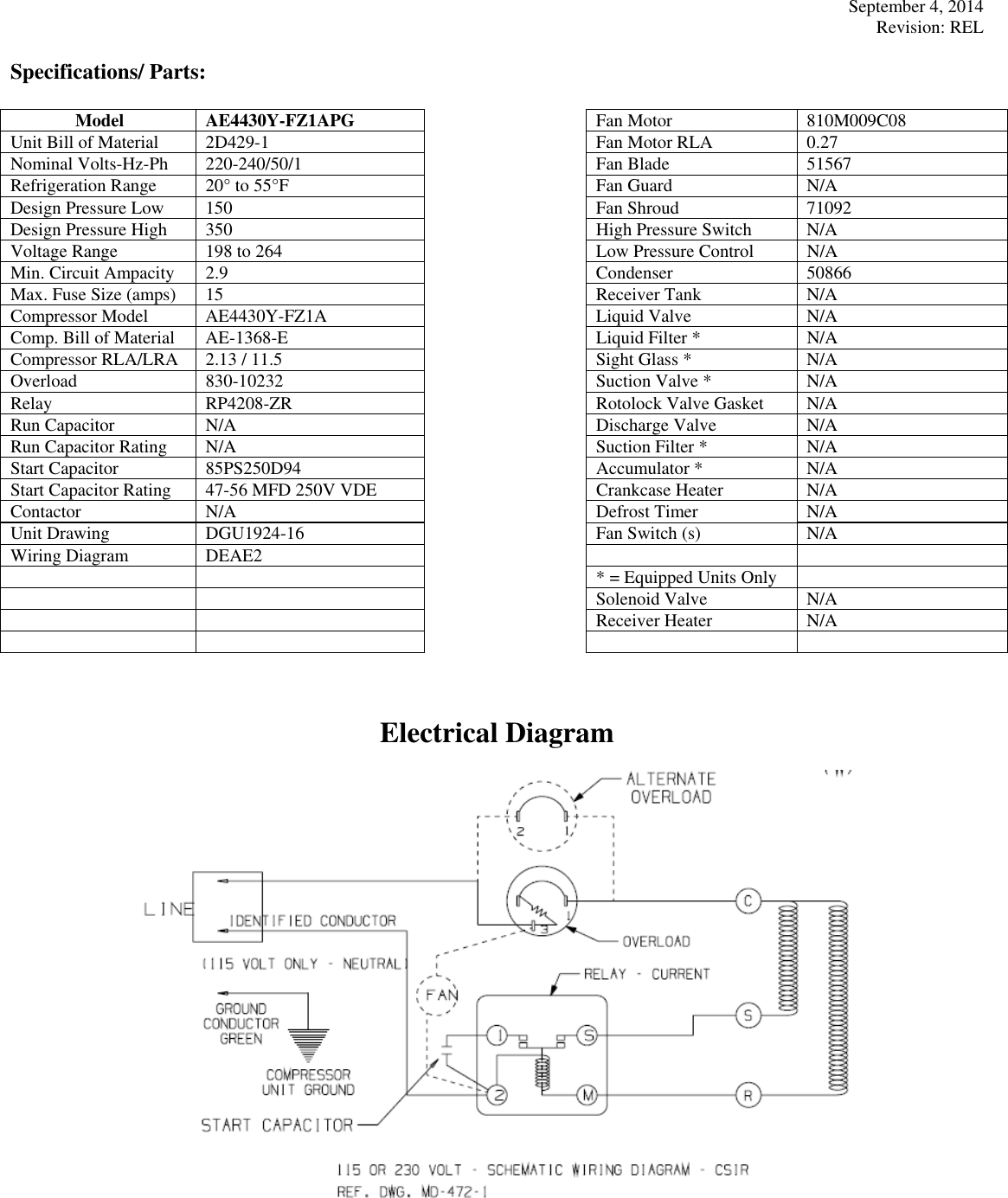 Tecumseh Ae4430y Fz1apg Performance Data Sheet 2d429 1 Rel Accumulator Tank Schematic Page 2 Of