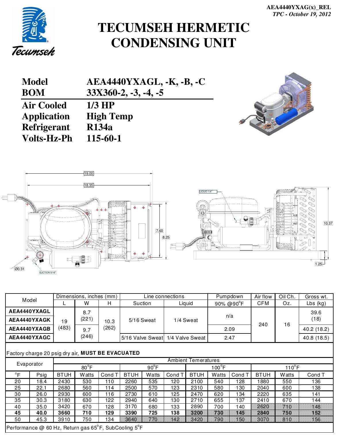 Tecumseh Aea4440yxagb Performance Data Sheet Aea4440yxag X 33x360 Rel Aea4440yxa Compressor Wiring Diagram