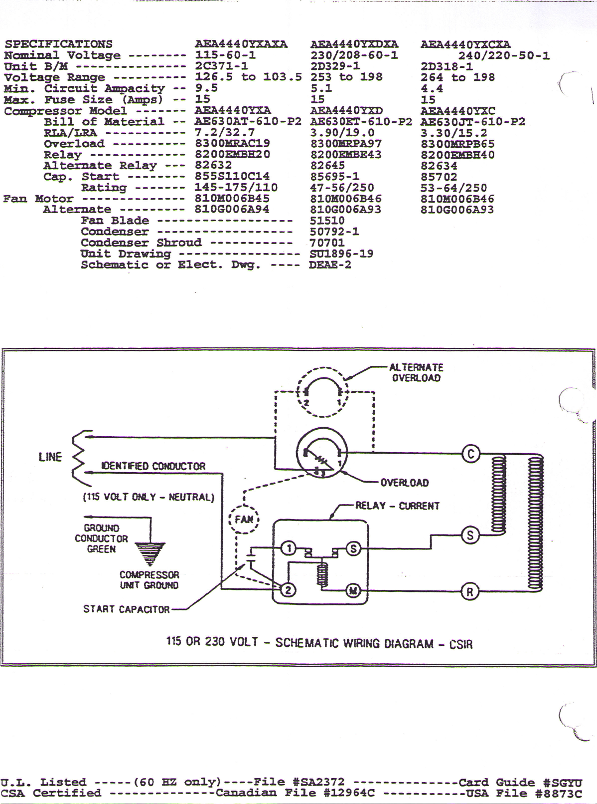 Tecumseh Aea4440yxaxa Performance Data Sheet Wiring Diagram Page 2 Of