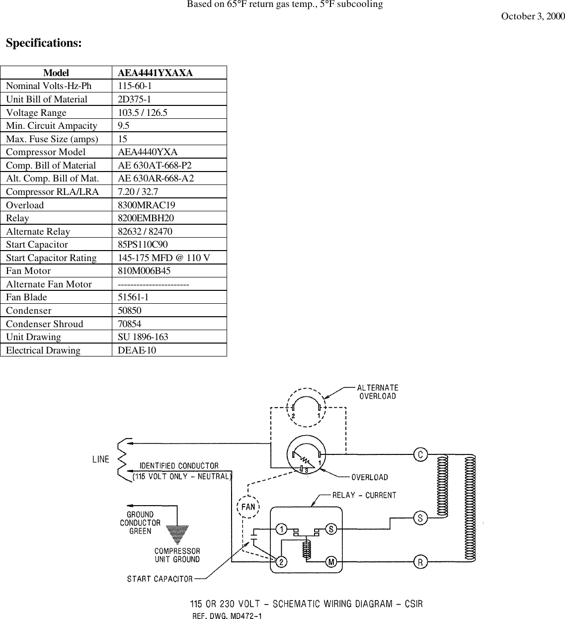 Tecumseh Aea4441yxaxa Performance Data Sheet Aea4441yx Xa Wiring Diagram Page 2 Of