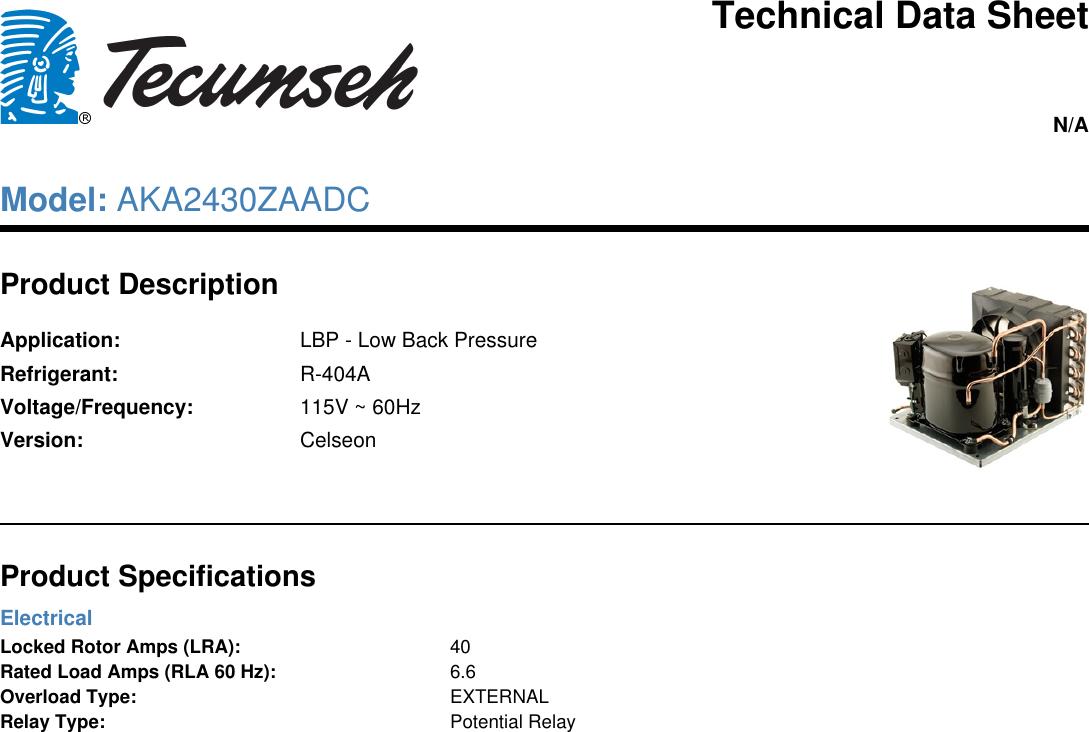 Tecumseh Aka2430zaadc Technical Data Sheet Electrical Relay Description