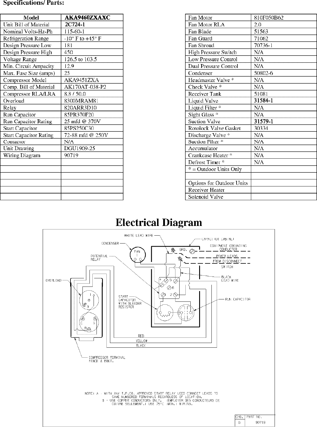 Tecumseh Aka9460zxaxc Performance Data Sheet Tech Condenser Wiring Diagram Page 2 Of