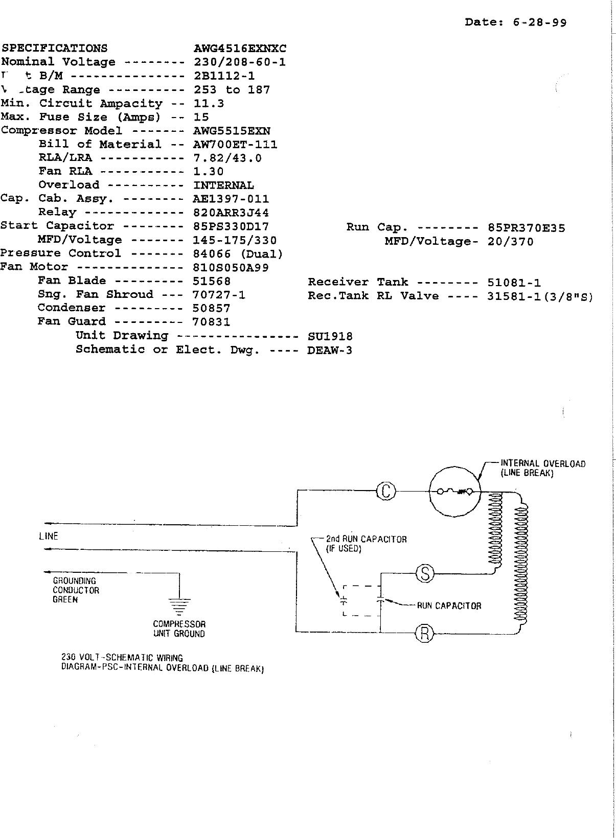 Tecumseh Awg4516Exnxc Performance Data Sheet