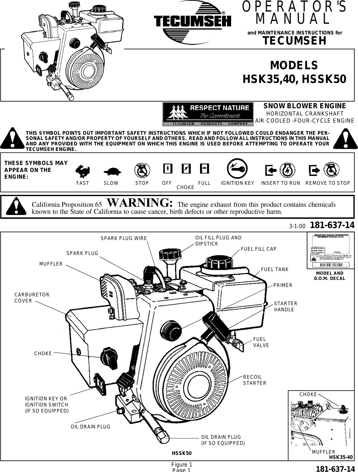 Tecumseh Vantage 35 Motor