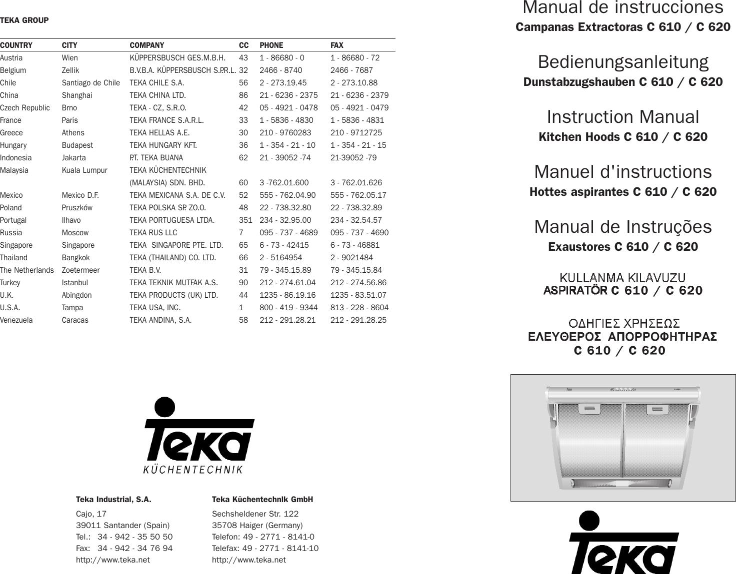 Teka Kitchen Hoods C 610 Users Manual 1 C610 C620 E Niceic Type Wiring Codes