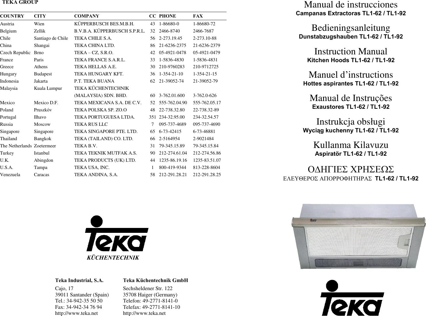 Teka Kitchen Hoods Tl1 62 Users Manual O1