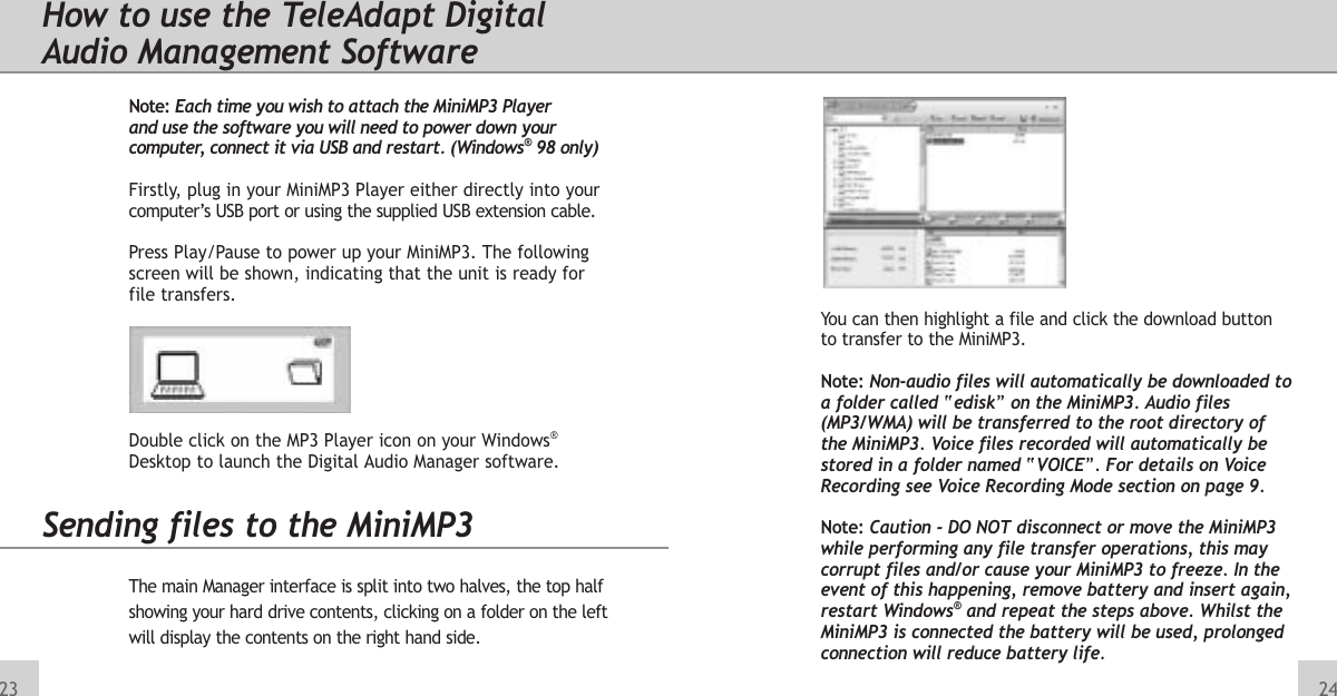 Teleadapt Mini Mp3 Player Users Manual 3262