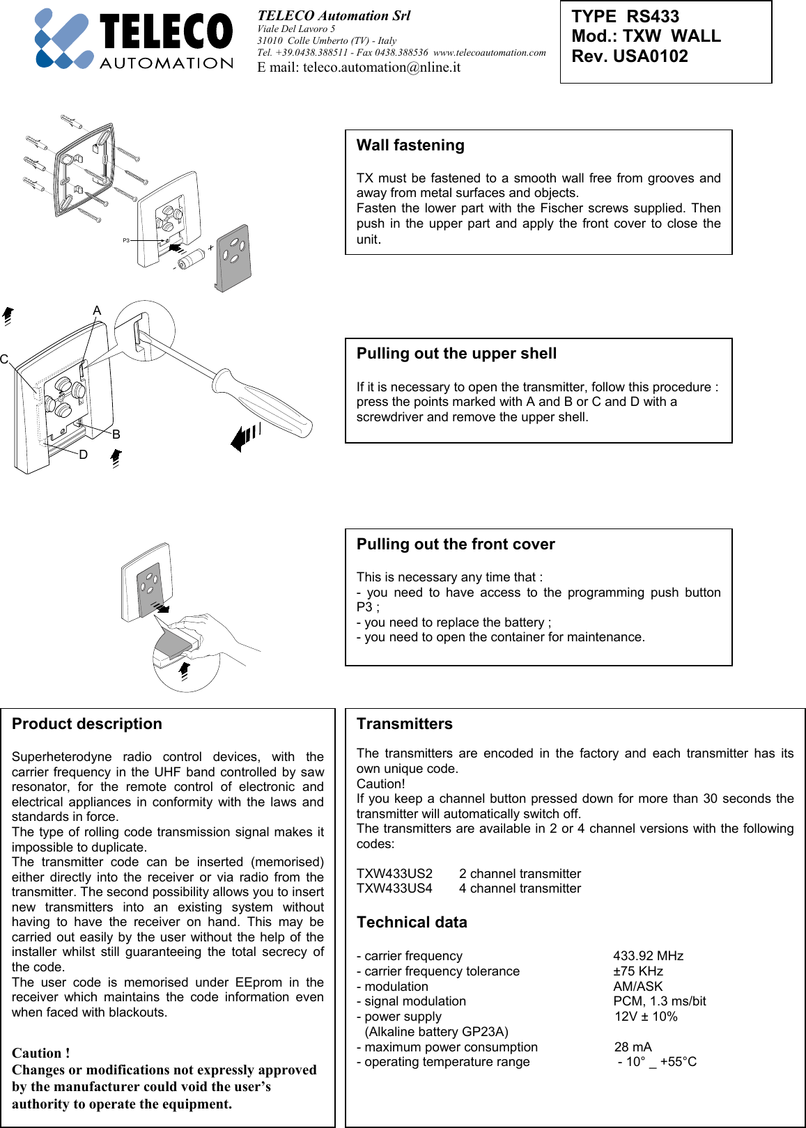 teleco automation s r l txrw433us remote control gates doors rh usermanual wiki etc element user manual etc revolution user manual