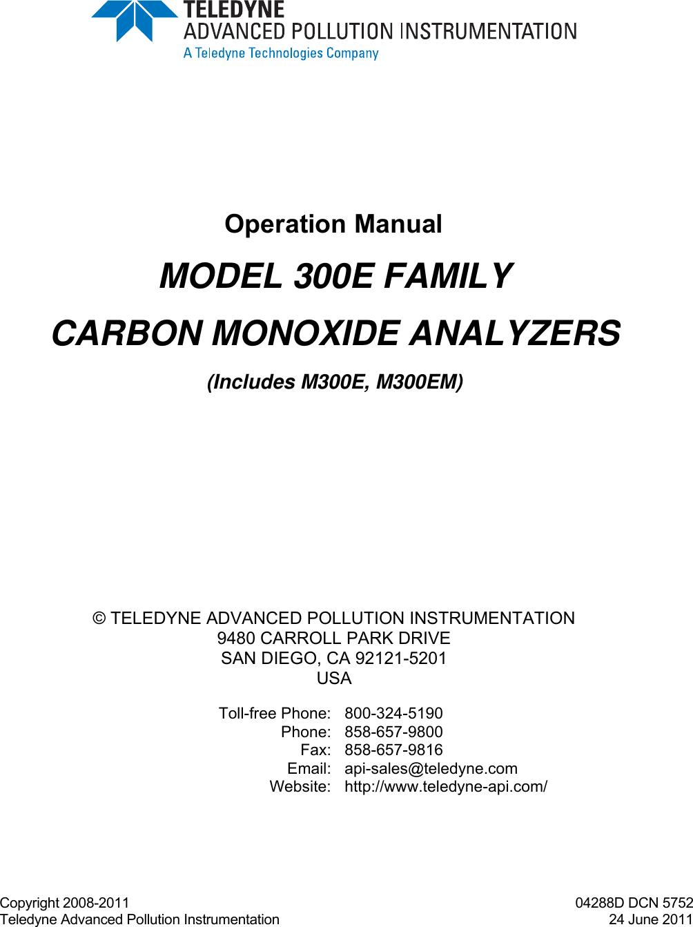 Teledyne M300e Users Manual M200e Operators 220v 3g Ozone Generator Tube Circuit Board Hour 40w For