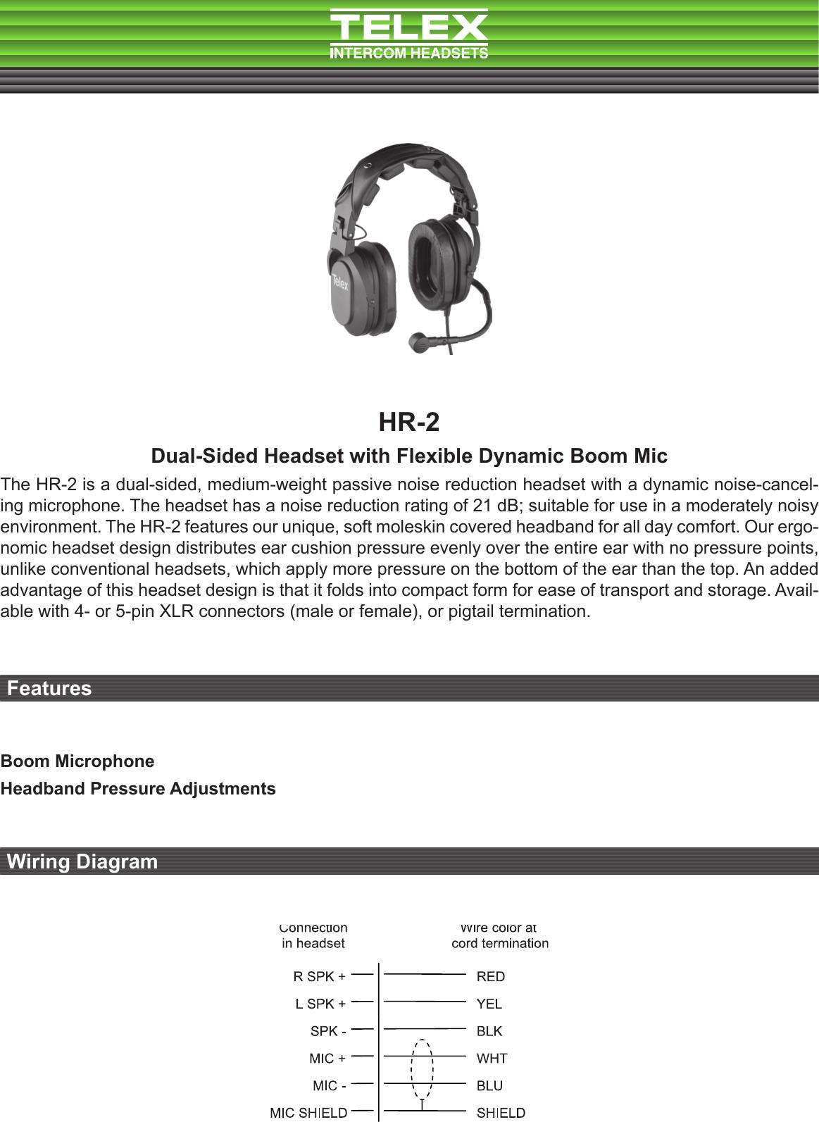 Telex Hr 2 Users Manual Technical Data Sheet Intercom Wiring Diagram