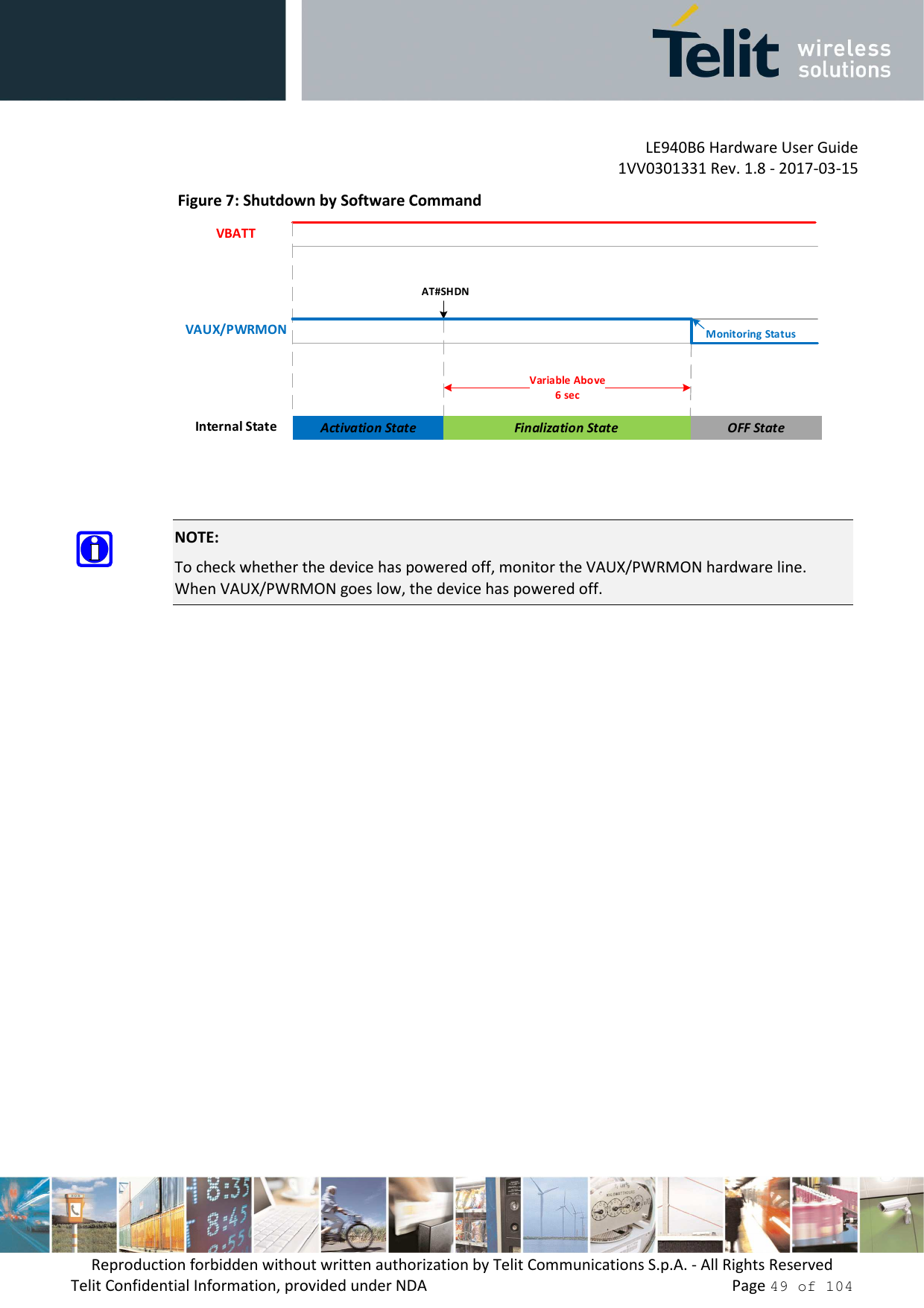 LE940B6 Hardware User Guide     1VV0301331 Rev. 1.8 - 2017-03-15 Reproduction forbidden without written authorization by Telit Communications S.p.A. - All Rights Reserved Telit Confidential Information, provided under NDA                 Page 49 of 104 Figure 7: Shutdown by Software Command Finalization State OFF StateInternal StateVAUX/PWRMONVBATTActivation StateAT#SHDNVariable Above6 secMonitoring Status      NOTE: To check whether the device has powered off, monitor the VAUX/PWRMON hardware line. When VAUX/PWRMON goes low, the device has powered off.