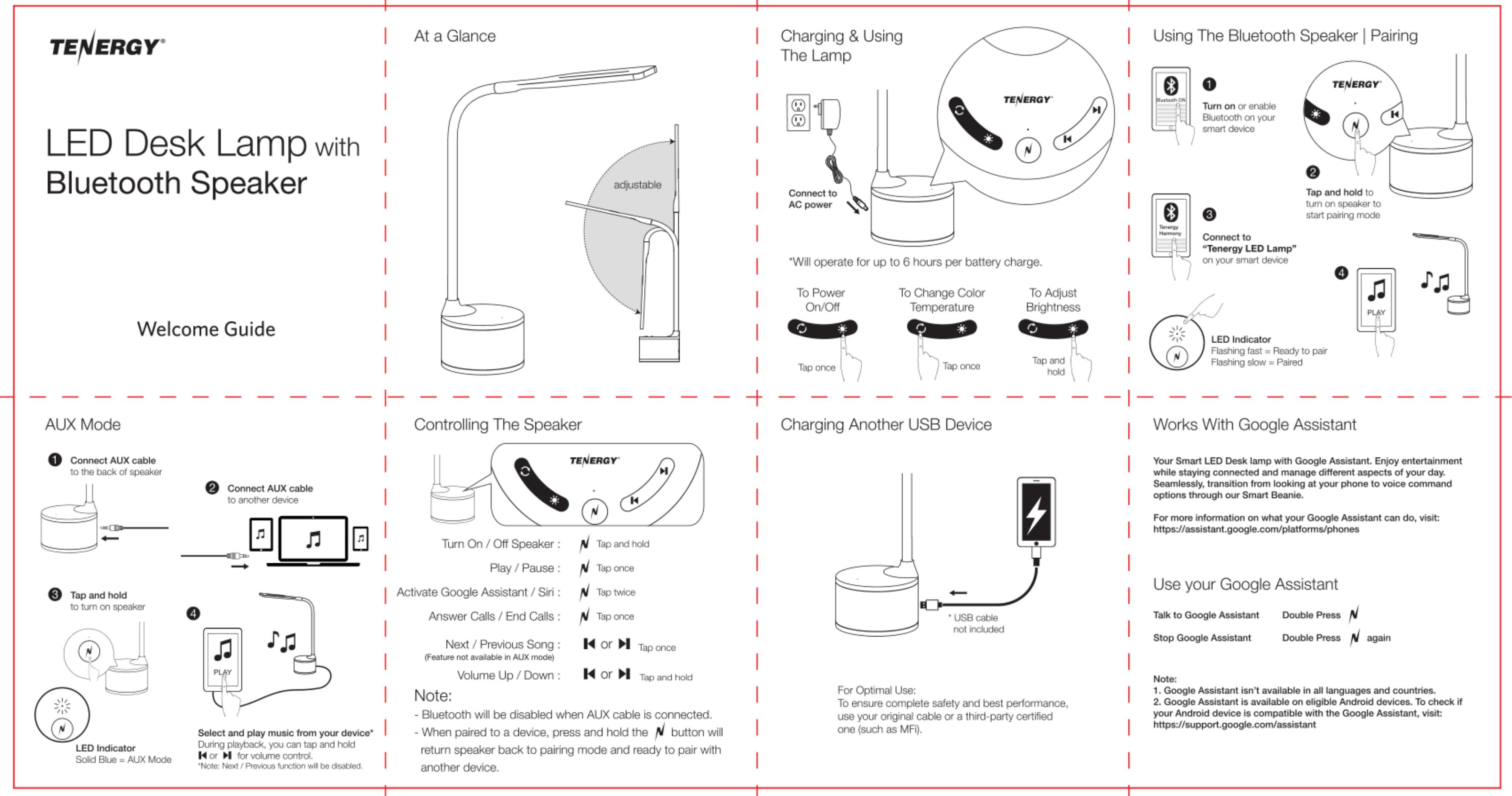 Tenergy 59122 Led Desk Lamp With Bluetooth Speaker User