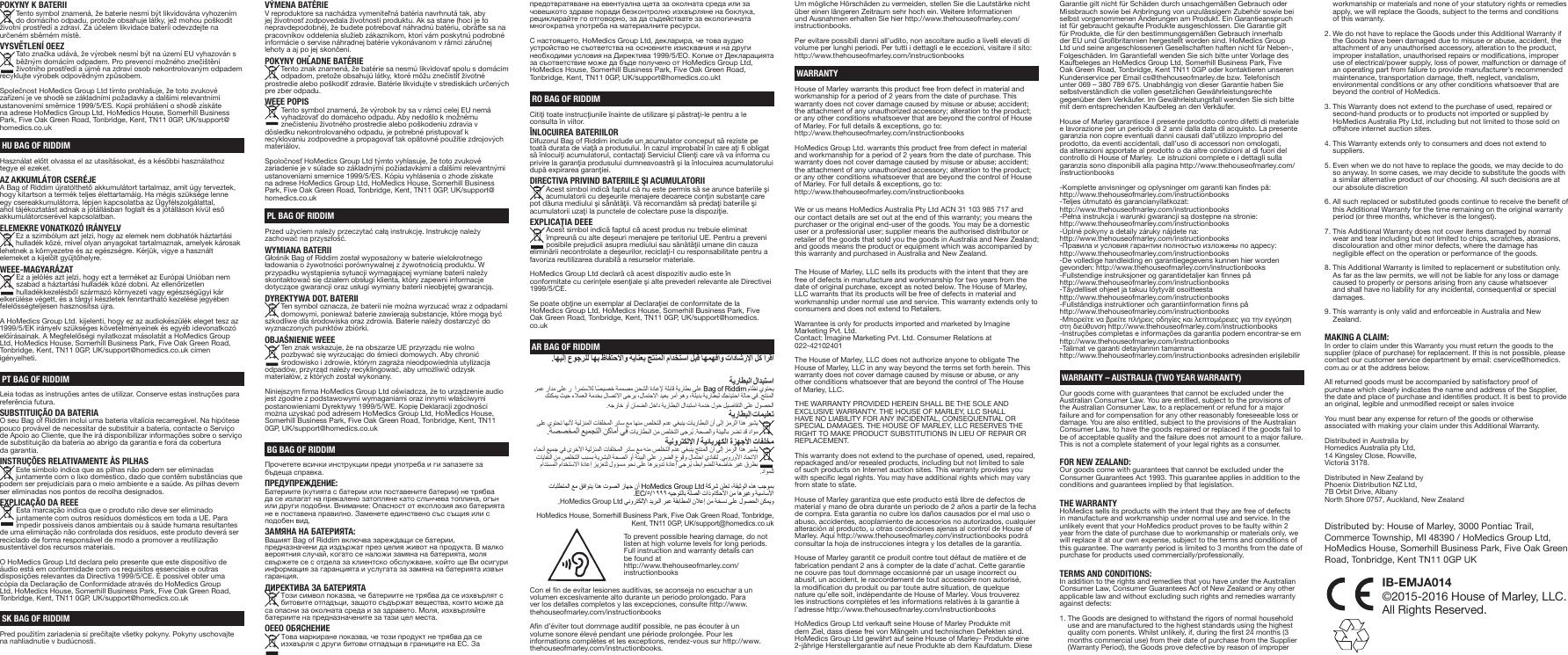The House of Marley BORII BAG OF RIDDIM II User Manual