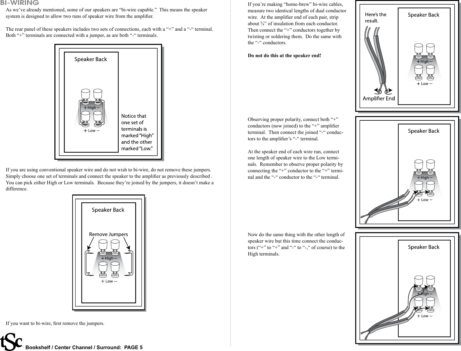 The Speaker Company Bookshelf Center Channel Surround Speakers Users How To Wire Together Page 5 Of 6