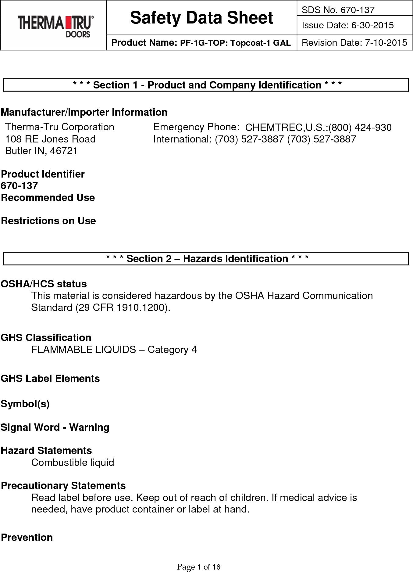 Therma Tru Pf 1G Top User Manual