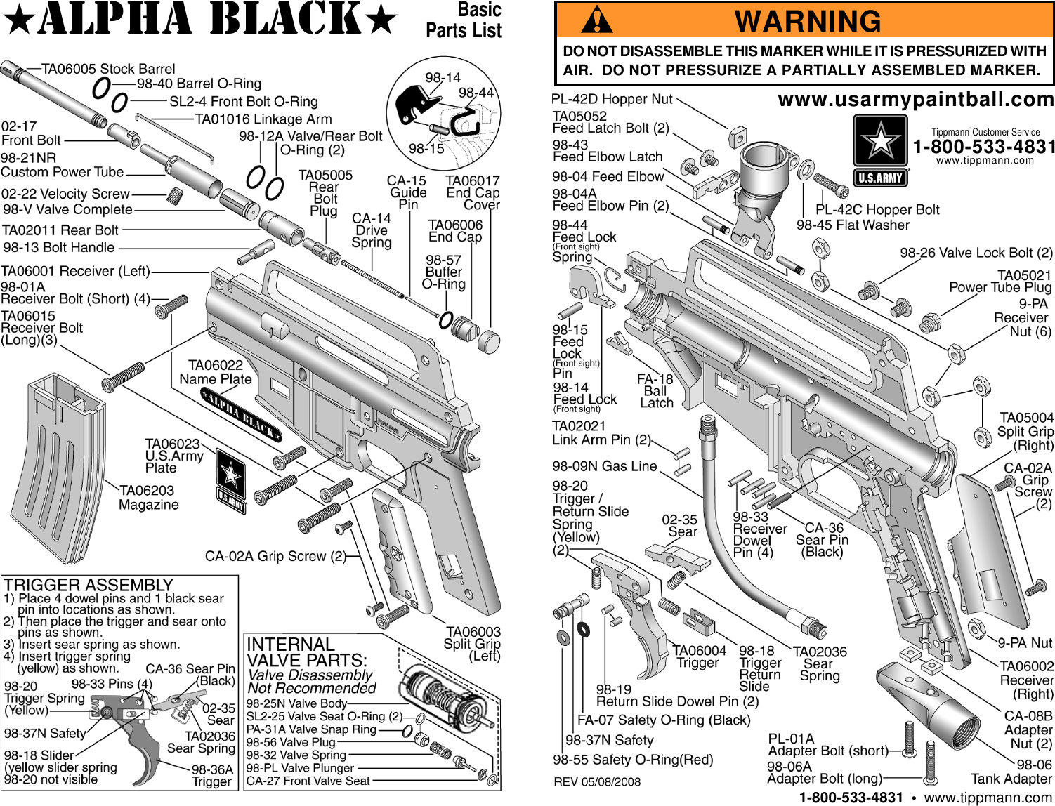 Tippmann Parts Diagram Trusted Wiring Diagrams X7 Phenom Mechanical V131129 Us Army Alpha Black Basic Users Manual 02 20 Mods