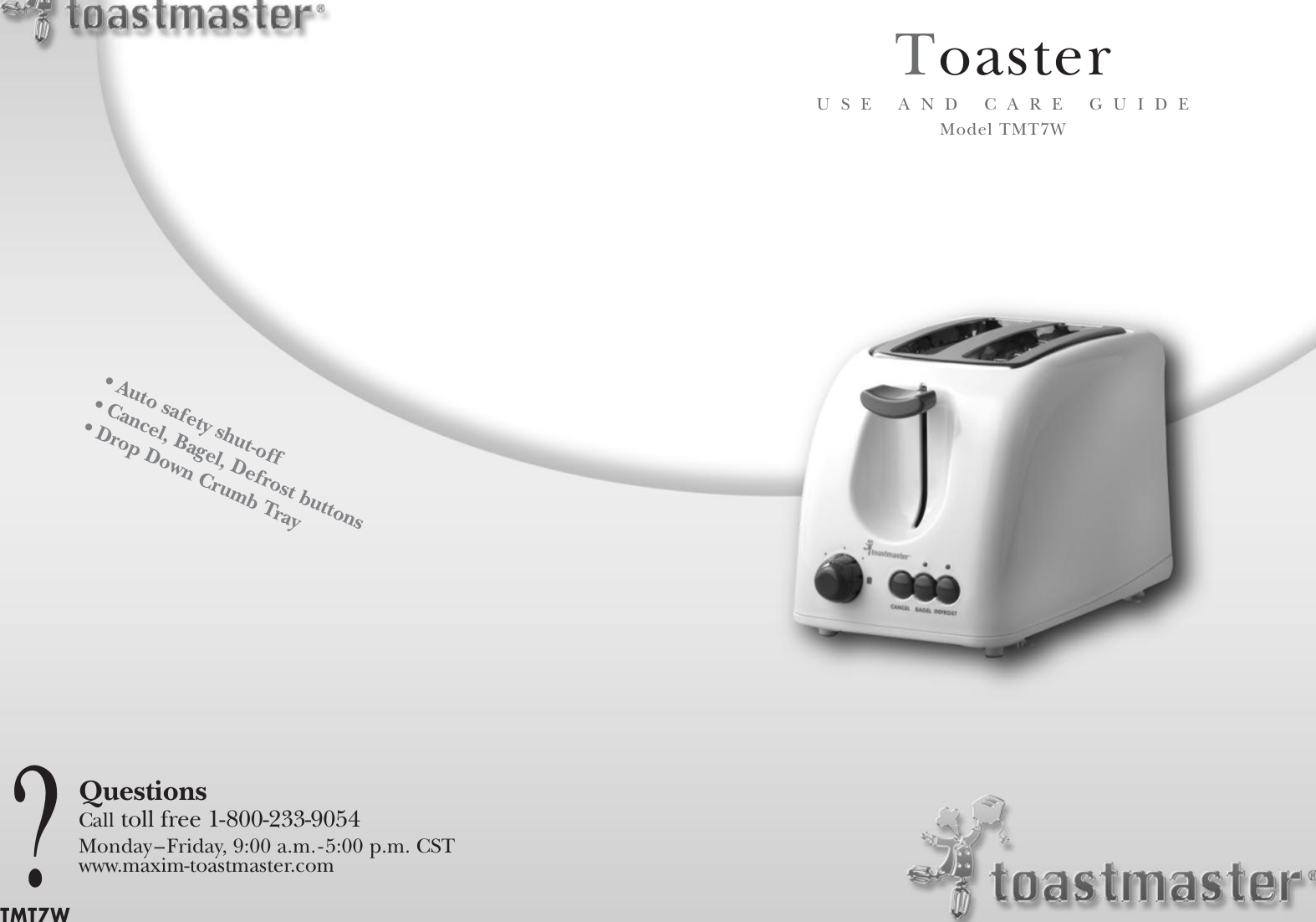Page 1 of 12 - Toastmaster Toastmaster-Tmt7W-Users-Manual- T2050 Manual  Toastmaster-tmt7w-users-manual