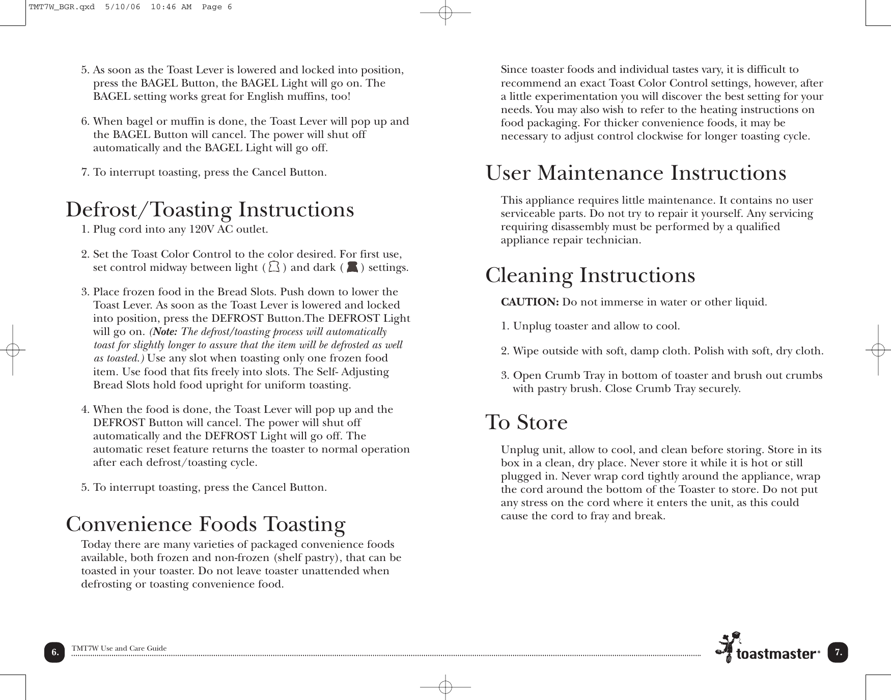 Page 8 of 12 - Toastmaster Toastmaster-Tmt7W-Users-Manual- T2050 Manual  Toastmaster-tmt7w-users-manual