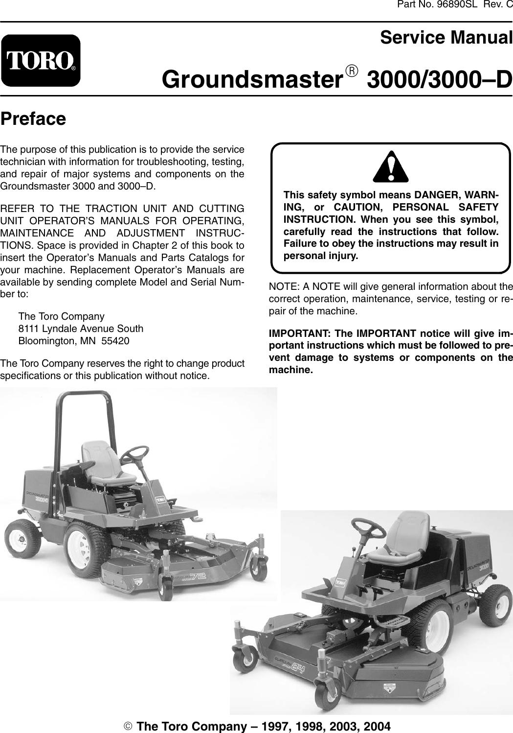 Toro Groundsmaster 3000 D Factory Service Work Shop Manual