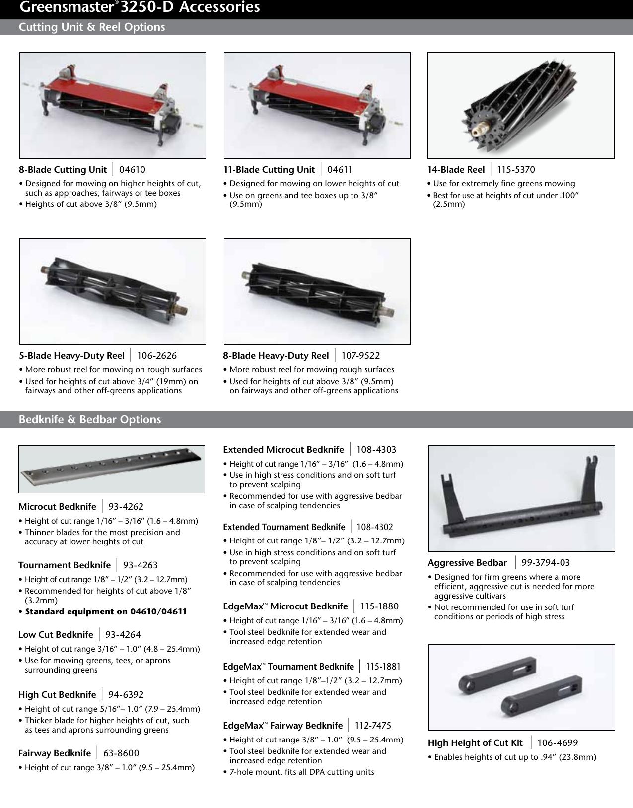 Toro Greensmaster 3250 D 04384 Accessory Guide