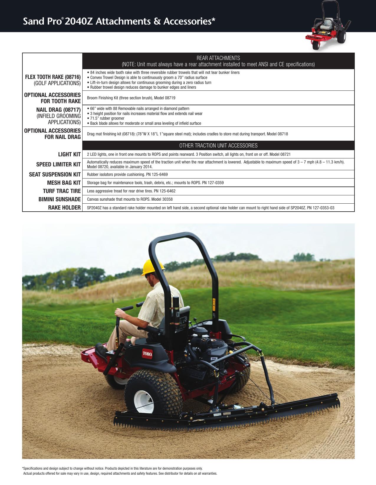 Toro Sand Pro 2040Z 08706 Sell Sheet
