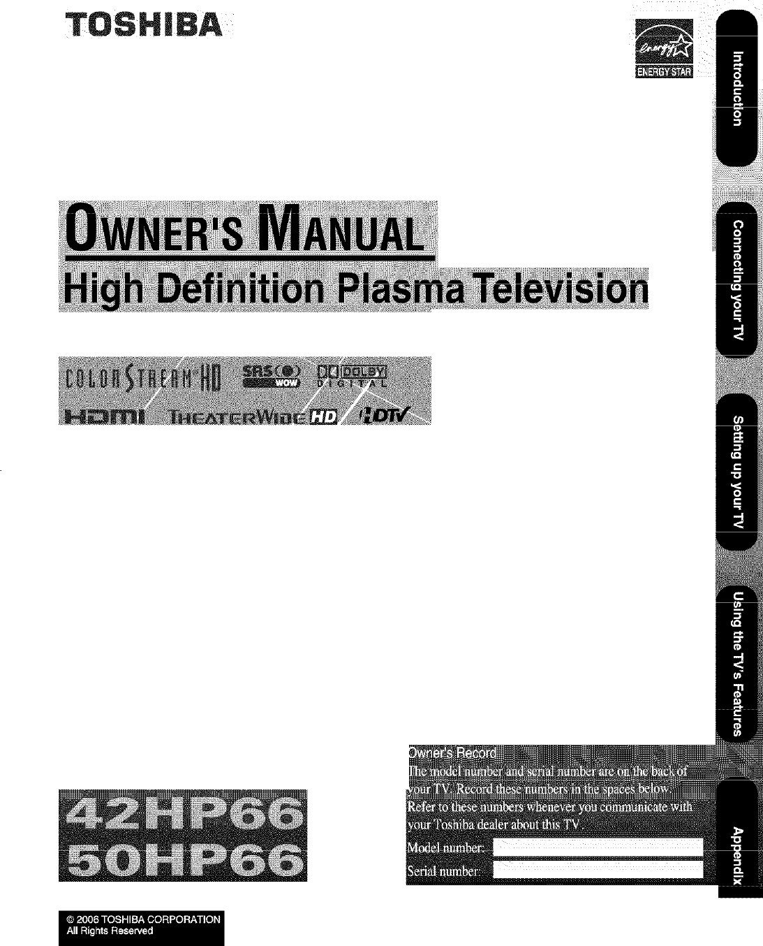 toshiba 42hp66 user manual plasma television manuals and guides l0608546 rh usermanual wiki Toshiba TV Toshiba Plasma TV
