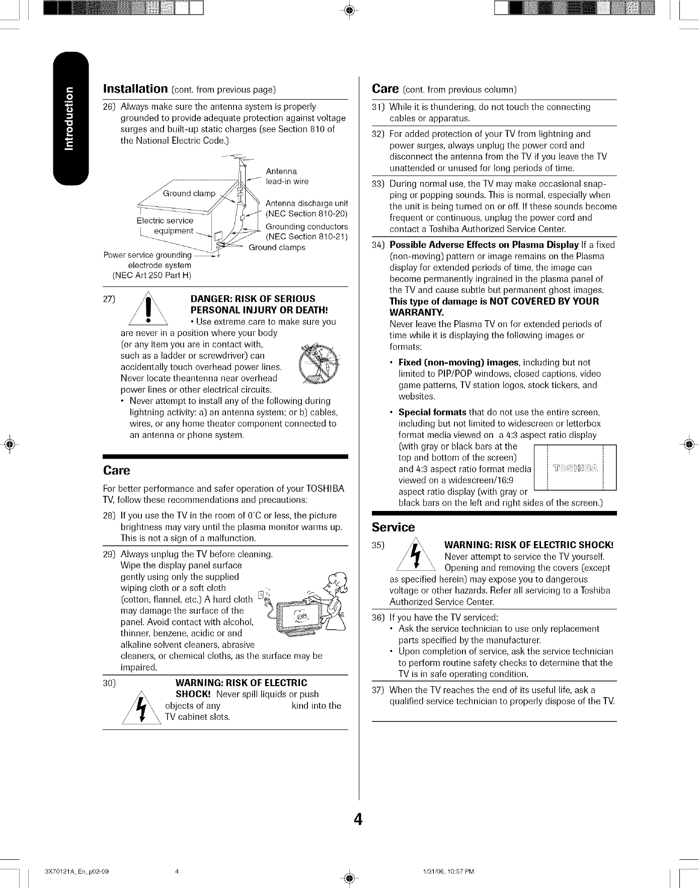 Toshiba 42HP66 User Manual PLASMA TELEVISION Manuals And