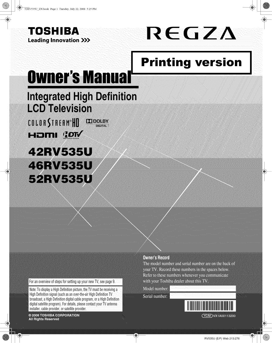 Toshiba 42rv535u User Manual Tv Lcd Manuals And Guides L0811036