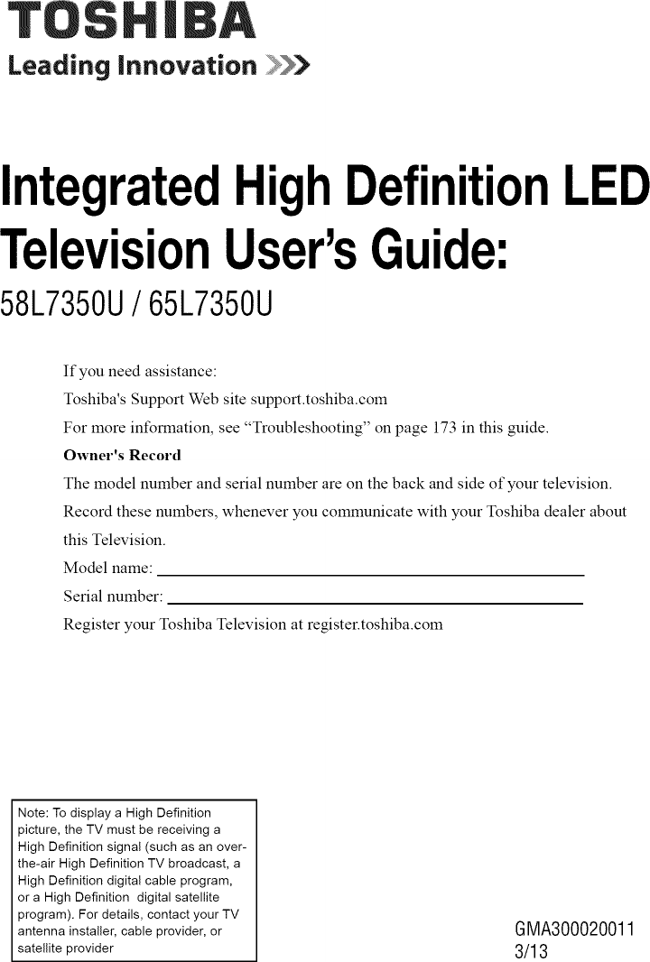 Toshiba 58L7350U User Manual LED TELEVISION Manuals And