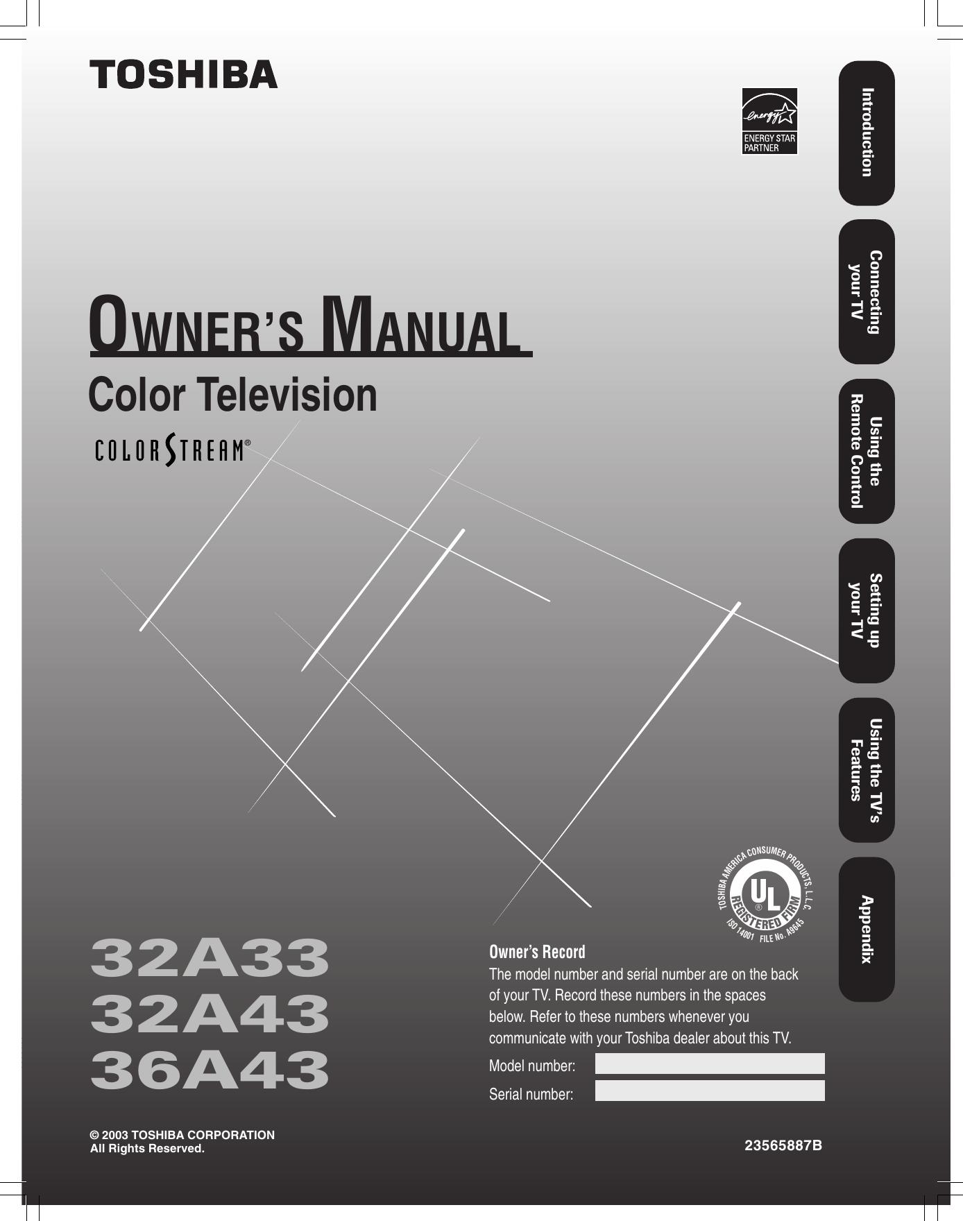 toshiba 32a33 owners manual 32a33 32 36a43 e 01 rev rh usermanual wiki RCA User Manual Garmin GPS User Manual
