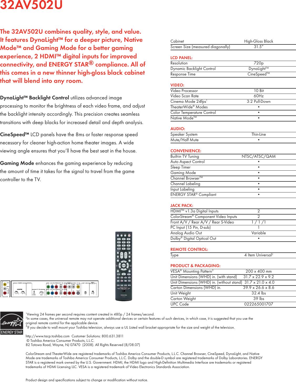 Toshiba 32Av502U Brochure 2009tvAVseries