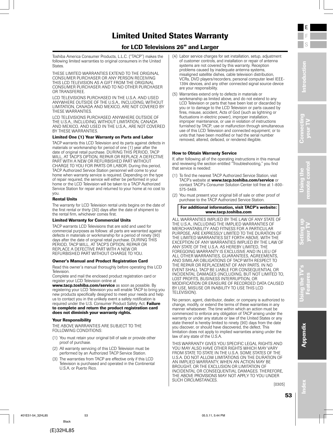 Toshiba 32Hl85 Owners Manual #01E01_32HL85