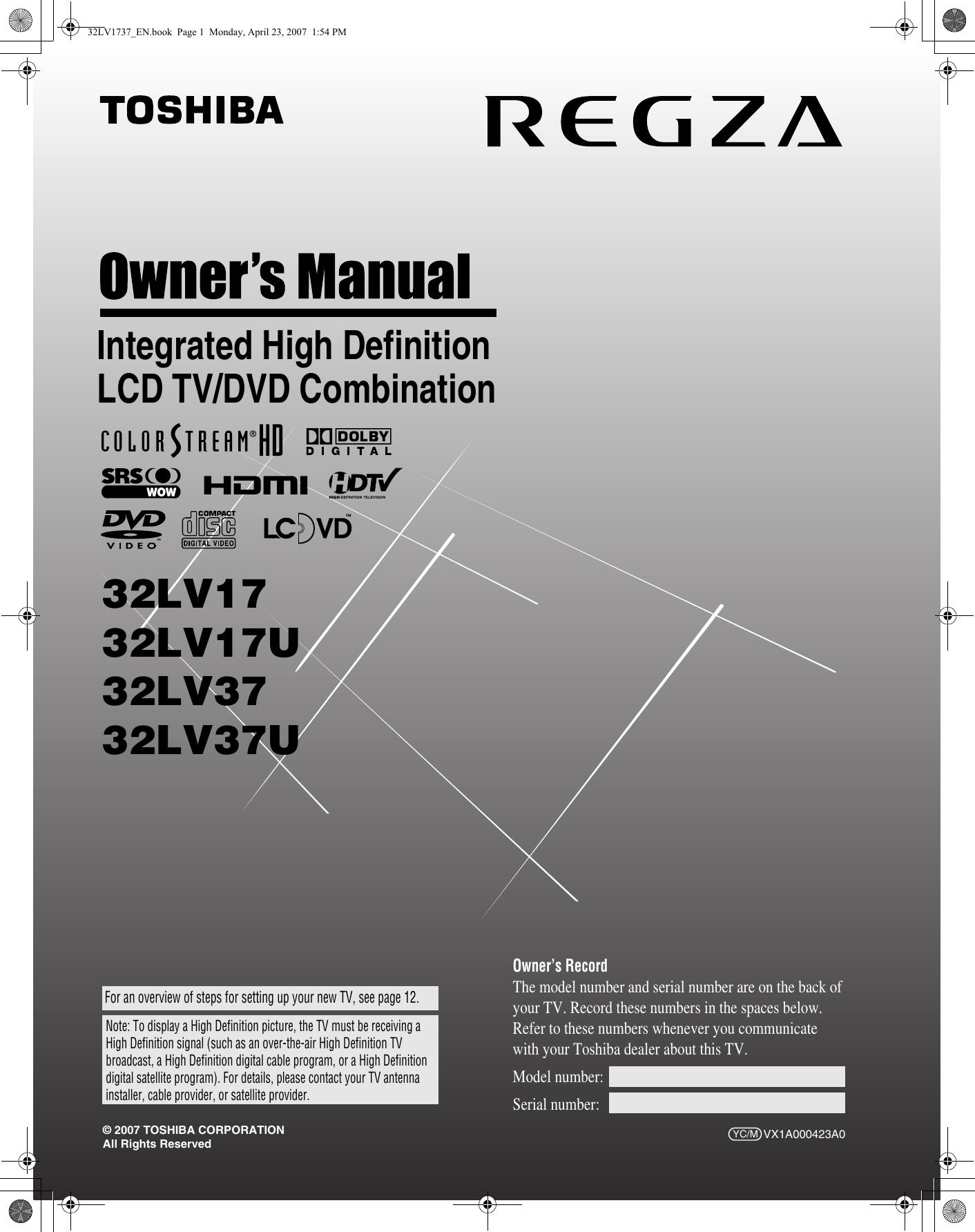 toshiba 32lv17 owners manual  at Yamaha Yz9 Wiring Diagram