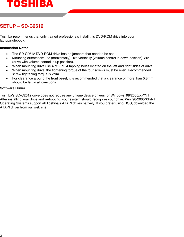 Toshiba Dvd Rom Sd C2612 Users Manual SDc2612