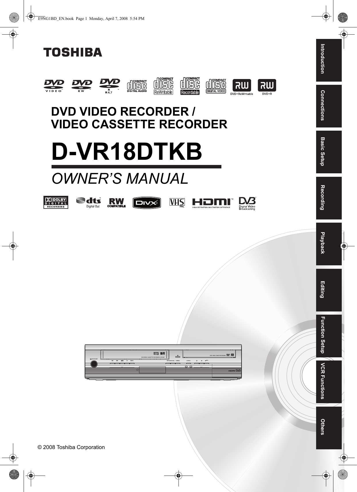 Toshiba Dvr18 Users Manual E9ng1bd En Wiring Meaning In Bengali