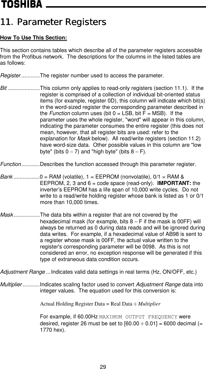Toshiba G3 Tosvert 130 Instruction Manual 3 series ASD Profibus