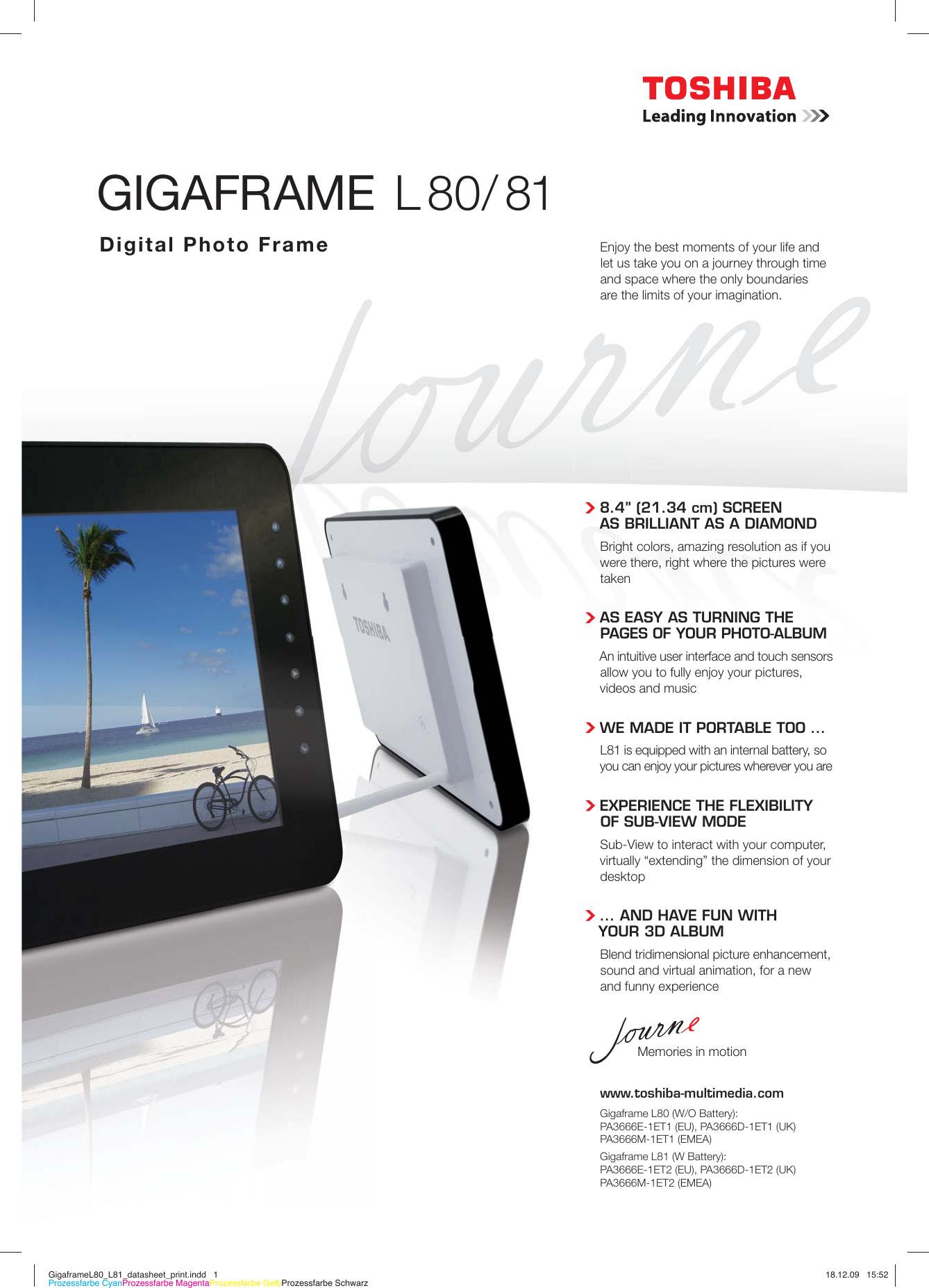 Toshiba Gigaframe L80 Users Manual Gigaframel80l81datasheetprint