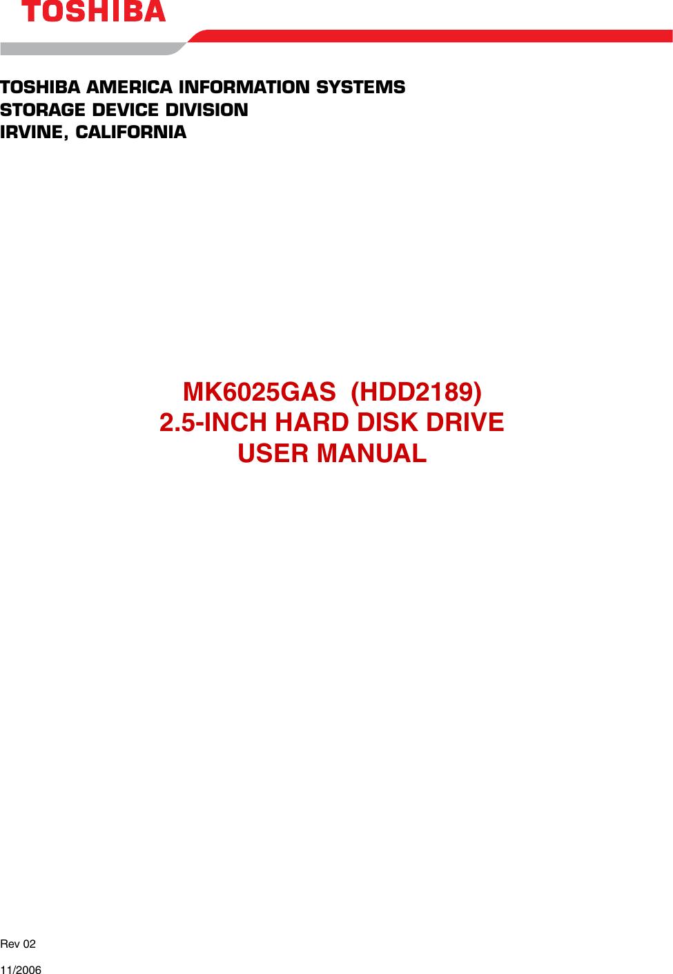 Toshiba Hdd2189 Users Manual May 10, 2000